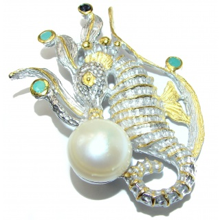 Incredible Large Seahorse Natural Pearl Emerald Sapphire 925 Sterling Silver Pendant Brooch