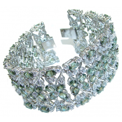 Prasiolite Dazzling Authentic Green Amethyst .925 Sterling Silver handcrafted Bracelet