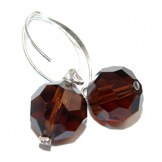 Huge Incredible Smoky Topaz .925 Sterling Silver earrings