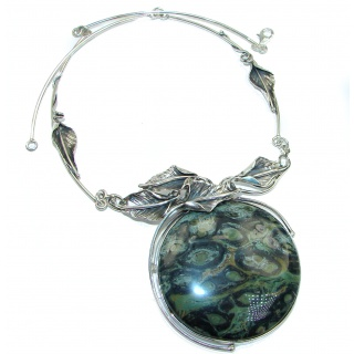Diva's Dream Genuine HUGE Rainforest Jasper .925 Sterling Silver handmade necklace