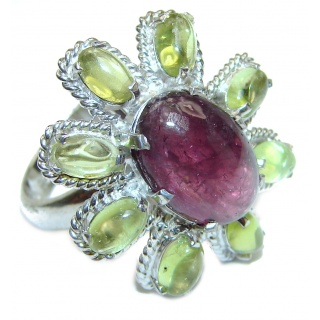 Diva's Dream Large Genuine Ruby Peridot .925 Sterling Silver handcrafted Statement Ring size 8 3/4