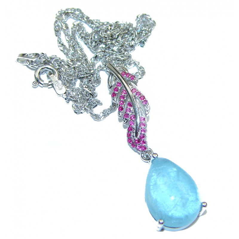 True Art genuine Aquamarine .925 Sterling Silver handcrafted necklace