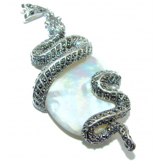 Large Snake Genuine Blister Pearl .925 Sterling Silver handcrafted Pendant