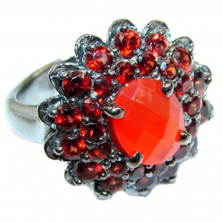 Dazzling natural Mexican Precious Fire Opal black rhodium over .925 Sterling Silver handcrafted ring size 8 1/2
