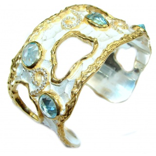 Bracelet with Swiss Blue Topaz & Diamonds 24K gold and Silver in Antique White Patina