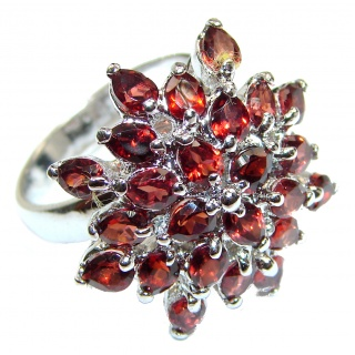 Large Natural Australian Garnet .925 Sterling Silver Statement ring size 8