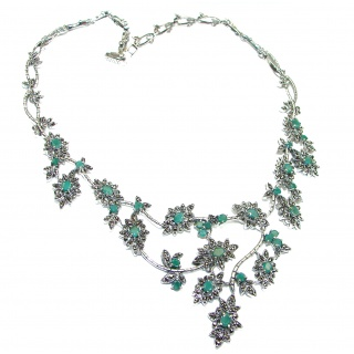 Alessandra Large authentic Colombian Emerald .925 Sterling Silver handcrafted Statement necklace