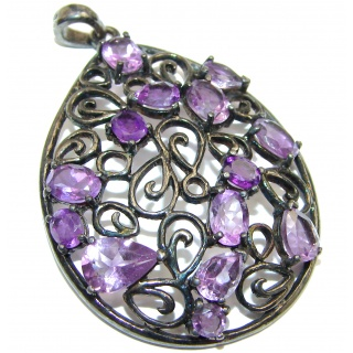 Large Amazing genuine Amethyst black rhodium over .925 Sterling Silver handcrafted pendant