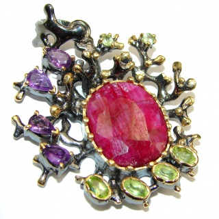Large genuine Kashmir Ruby .925 Sterling Silver handmade Pendant