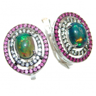 Earth Treasure Authentic Garnet Black Opal .925 Sterling Silver handcrafted stud earrings