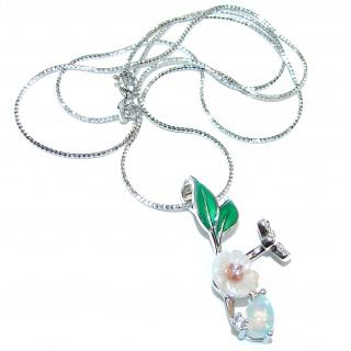 Awesome Natural Ethiopian Opal .925 Silver Enamel Bee Necklace
