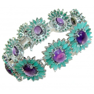 Royal esign best quality Authentic Amethyst Emerald .925 Sterling Silver handcrafted Bracelet
