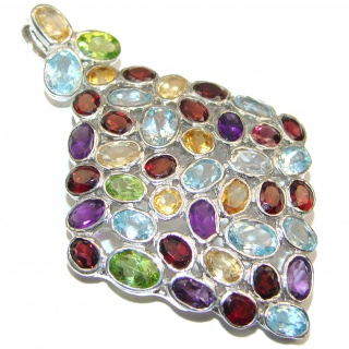 Large Blue Flower genuine Multigem .925 Sterling Silver handmade Pendant - Brooch