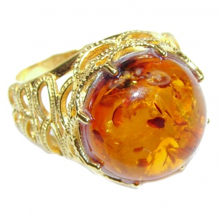 Excellent Vintage Design Baltic Amber .925 Sterling Silver handcrafted Ring s. 8
