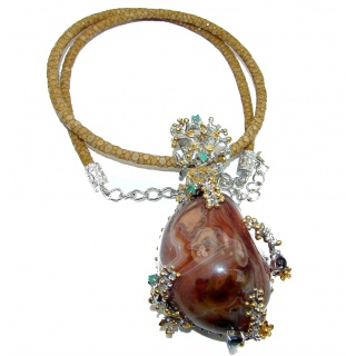 Handmade-superior quality- 137.7 grams Natural Crazy Lace Agate .925 925 Silver Stingray Leather Necklace