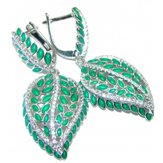 Vintage Design Authentic Emerald .925 Sterling Silver handmade earrings