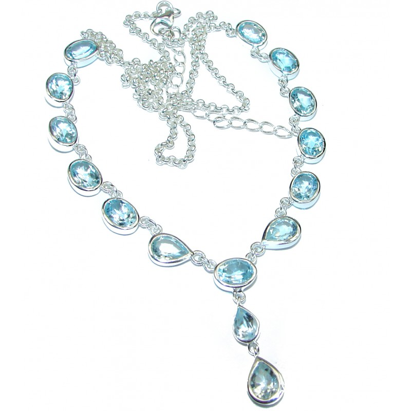 Great genuine Swiss Blue Topaz .925 Sterling Silver handmade necklace