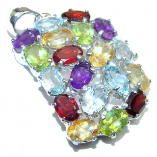 Best quality Genuine Multigem .925 Sterling Silver handcrafted Pendant