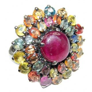 Genuine 12ctw Ruby Tourmaline black rhodium over .925 Sterling Silver handcrafted Statement Ring size 6