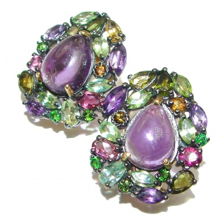 Vintage Design Authentic Amethyst Chrome Diopside 24K Gold over .925 Sterling Silver handmade earrings