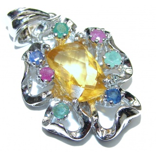 Golden Treasure Genuine Citrine .925 Sterling Silver handmade Pendant