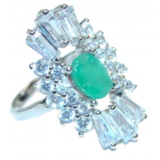 Posh Genuine Emerald .925 Sterling Silver handcrafted Statement Ring size 6