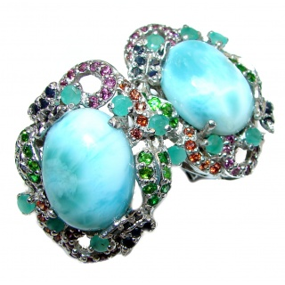 Blue Treasure Larimar Ruby Emerald .925 Sterling Silver stud earrings