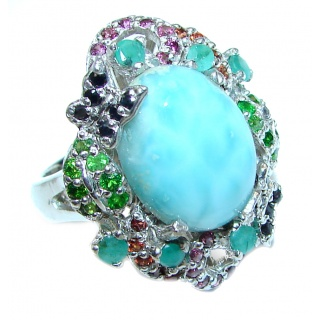 Emily Real Beauty Natural Larimar Ruby Emerald .925 Sterling Silver handcrafted Large Ring s. 7 3/4