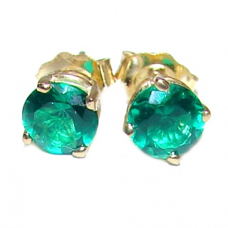 5mm 0.4ctw Colombian Emerald Round Stud Earrings 14Kt Yellow Gold