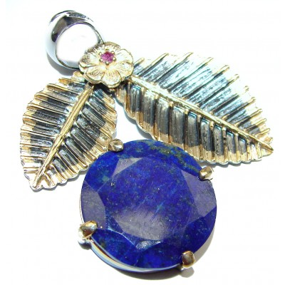 Royal Blue Lapis Lazuli 14k Gold over .925 Sterling Silver handcrafted Pendant