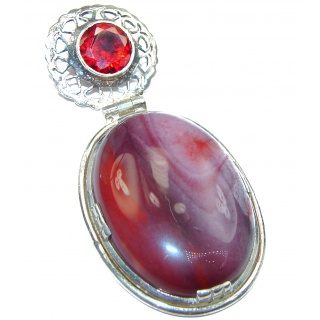 Large Perfect quality Imperial Jasper .925 Sterling Silver handmade Pendant