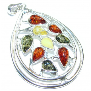 Perfect Rose Baltic Amber .925 Sterling Silver handcrafted Pendant