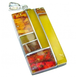 Handcrafted Mosaic Polish Amber Bamboo Wood .925 Sterling Silver handcrafted Pendant