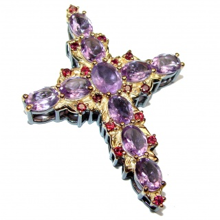 Victorian Style Holy Cross genuine Amethyst Garnet .925 Sterling Silver handmade pendant