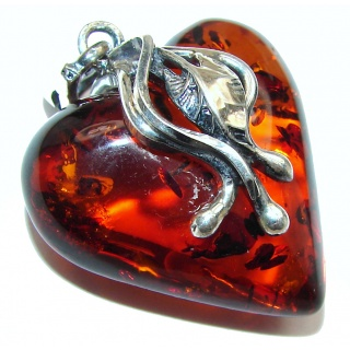 Angel's Heart amazing quality Amber .925 Sterling Silver handmade pendant