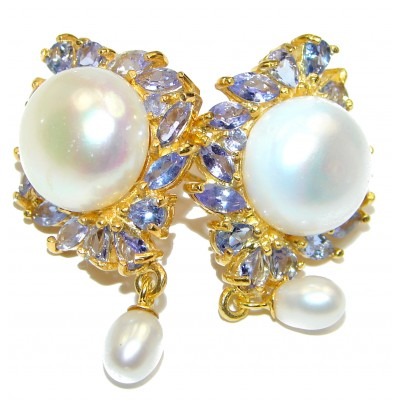 Venus Pearl Tanzanite .925 Sterling Silver handmade Earrings