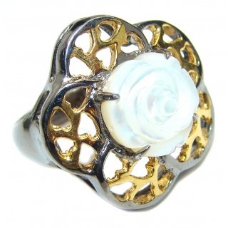 White Flower Blister Pearl black rhodium over .925 Sterling Silver handmade ring size 8