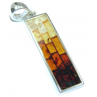 Artistic Mosiac Baltic Amber .925 Sterling Silver handcrafted Pendant
