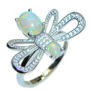 Fancy Ethiopian Opal .925 Sterling Silver handcrafted ring size 7