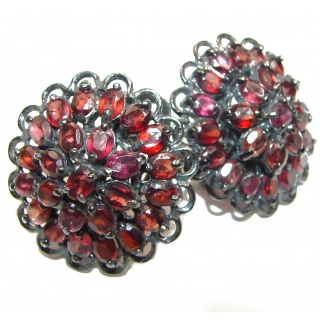 Carmen Huge Authentic Garnet black rhodium over .925 Sterling Silver handmade earrings