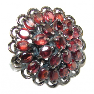 Carmen Natural Australian Garnet black rhodium over .925 Sterling Silver Statement ring size 6 1/4