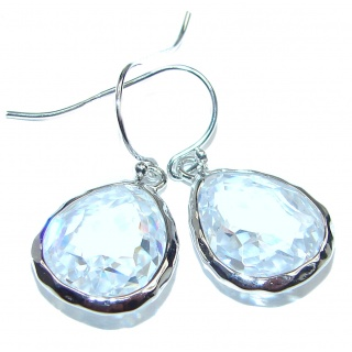 Unique design White Topaz .925 Sterling Silver handcrafted earrings
