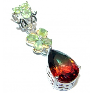 Deluxe pear cut Tourmaline 18K Gold over .925 Sterling Silver handmade Pendant
