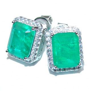 Spectacular Authentic Colombian Emerald .925 Sterling Silver handmade earrings