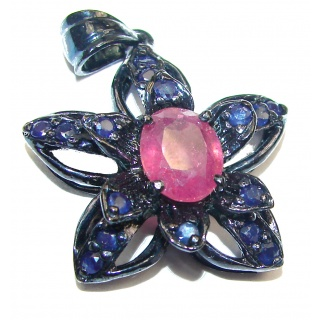Genuine Kashmir Ruby black Rhodium over .925 Sterling Silver handmade Pendant