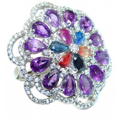 Elizabeth Taylor Style Amethyst .925 Sterling Silver handmade LARGE ring s. 8 1/4