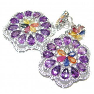 Elizabeth Taylor Style Amethyst .925 Sterling Silver handmade earrings