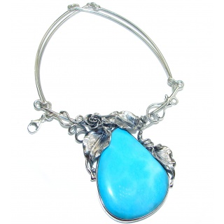 Vintage Beauty Best Quality Rare Genuine Turquise oxidized .925 Sterling Silver handmade necklace
