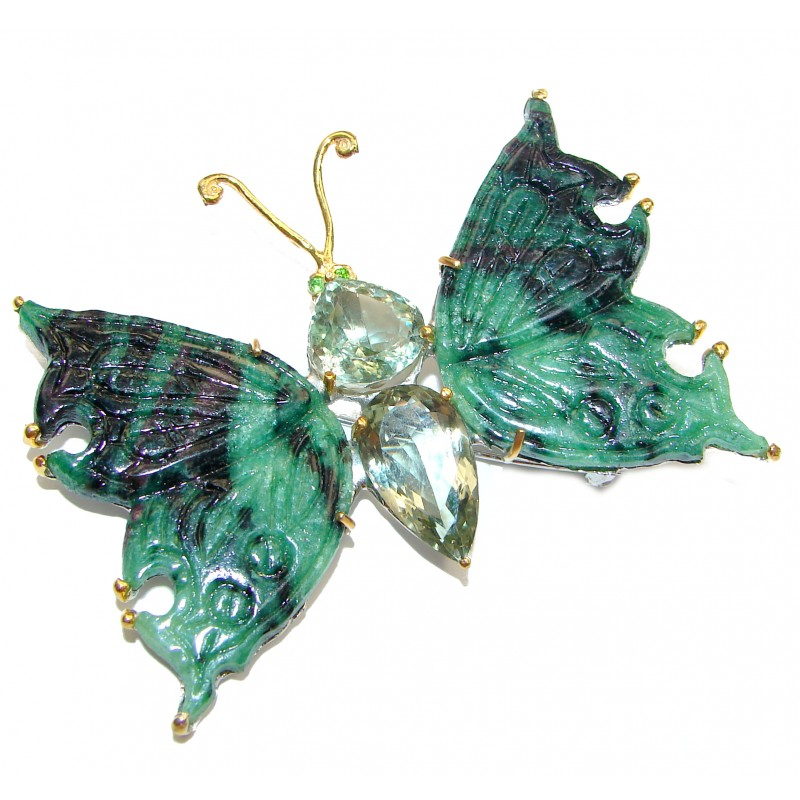 LARGE Incredible carved Butterfly Natural Ruby in Zoisite 925 Sterling Silver Pendant Brooch
