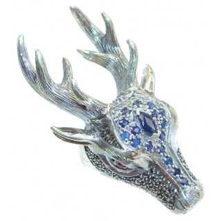 Large Deer Head Sapphire .925 Sterling Silver handmade Ring size 8 3/4